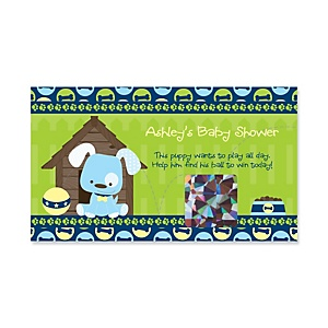 Boy Puppy Dog - Personalized Baby Shower Game Scratch Off Cards - 22 ct