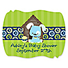Boy Puppy Dog - Personalized Baby Shower Squiggle Stickers - 16 ct