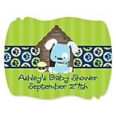 Boy Puppy Dog - Personalized Baby Shower Squiggle Sticker Labels - 16 Count