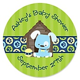 Boy Puppy Dog - Personalized Baby Shower Round Sticker Labels - 24 Count