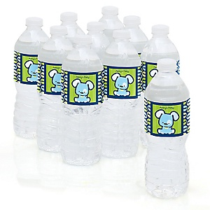 Boy Puppy Dog - Baby Shower Personalized Water Bottle Sticker Labels - 10 Count