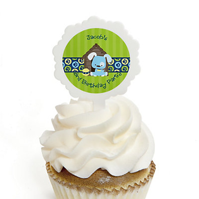 Boy Puppy Dog - Personalized Birthday Party Cupcake Pick and Sticker Kit - 12 ct