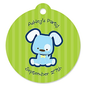 Boy Puppy Dog - Personalized Baby Shower Round Tags - 20 Count