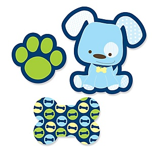 Boy Puppy Dog - Shaped Baby Shower Paper Cut-Outs - 24 ct