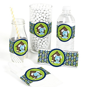 Boy Puppy Dog - Do It Yourself Baby Shower Wrappers - 15 Count