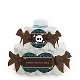 Skullitude™ - Baby Boy Skull - 2 Tier Personalized Square Baby Shower Diaper Cake