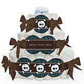 Skullitude™ - Baby Boy Skull - 3 Tier Personalized Square Baby Shower Diaper Cake