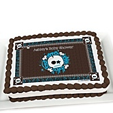 Skullitude™ - Baby Boy Skull   - Personalized Baby Shower Cake Image Topper