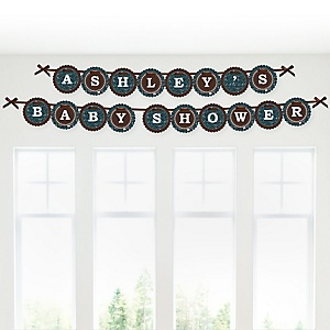 Skullitude™ - Baby Boy Skull - Personalized Baby Shower Garland Banner