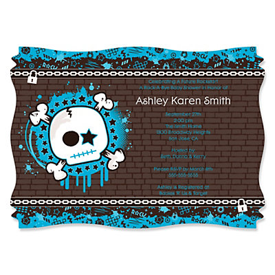 Skullitude - Baby Boy Skull - Squiggle Shaped Baby Shower Invitations Baby Shower Party Supplies