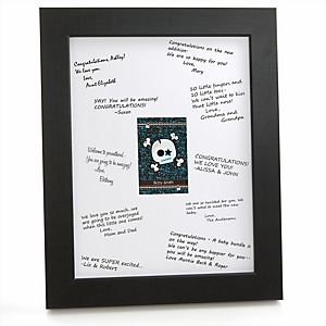 Skullitude™ - Baby Boy Skull - Personalized Baby Shower Print with Signature Mat