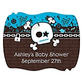 Skullitude™ - Baby Boy Skull - Personalized Baby Shower Squiggle Sticker Labels - 16 Count