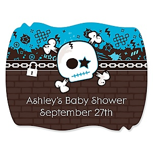 Skullitude™ - Baby Boy Skull - Personalized Baby Shower Squiggle Stickers - 16 ct