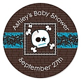 Skullitude™ - Baby Boy Skull - Personalized Baby Shower Round Sticker Labels - 24 Count