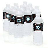 Skullitude™ - Baby Boy Skull - Baby Shower Personalized Water Bottle Sticker Labels - 10 Count