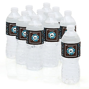 Skullitude™ - Boy Skull - Personalized Party Water Bottle Sticker Labels - Set of 10
