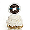 Skullitude™ - Boy Skull - Personalized Birthday Party Cupcake Pick and Sticker Kit - 12 ct
