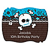 Skullitude™ - Boy Skull - Personalized Birthday Party Squiggle Stickers - 16 ct