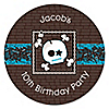 Skullitude™ - Boy Skull - Personalized Birthday Party Sticker Labels - 24 ct