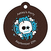 Skullitude™ - Baby Boy Skull - Personalized Baby Shower Round Tags - 20 Count