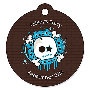 Skullitude™- Boy Skull - Round Personalized Party Tags - 20 ct