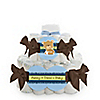 Baby Boy Teddy Bear - Personalized Baby Shower Square Diaper Cakes - 2 Tier