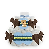 Baby Boy Teddy Bear - 2 Tier Personalized Square Baby Shower Diaper Cake
