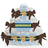 Baby Boy Teddy Bear - 3 Tier Personalized Square Baby Shower Diaper Cake