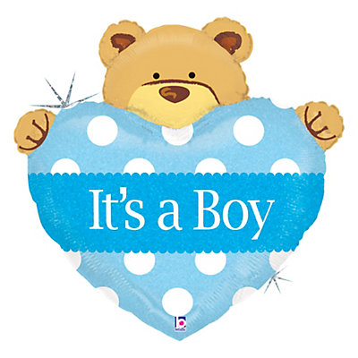 boy teddy bear baby shower mylar balloon
