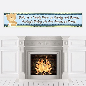Baby Boy Teddy Bear - Personalized Baby Shower Banners