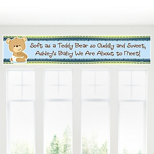 Baby Boy Teddy Bear - Personalized Baby Shower Banner
