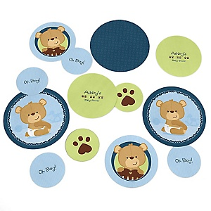 Baby Boy Teddy Bear - Personalized Baby Shower Table Confetti - 27 ct