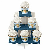 Baby Boy Teddy Bear - Baby Shower Cupcake Stand & 13 Cupcake Wrappers