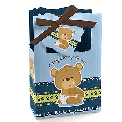 Baby Boy Teddy Bear - Classic Personalized Baby Shower Favor Boxes