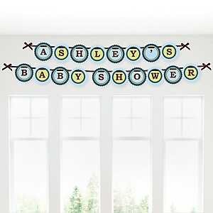 Baby Boy Teddy Bear - Personalized Baby Shower Garland Banner