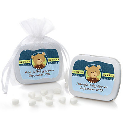 Baby Boy Teddy Bear - Mint Tin Personalized Baby Shower Favo...
