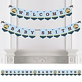 Baby Boy Teddy Bear - Personalized Baby Shower Bunting Banner