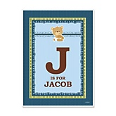 Baby Boy Teddy Bear - Personalized Baby Shower Poster Gifts