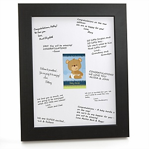 Baby Boy Teddy Bear - Personalized Baby Shower Print with Signature Mat