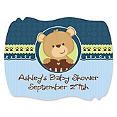 Baby Boy Teddy Bear - Personalized Baby Shower Squiggle Sticker Labels - 16 Count