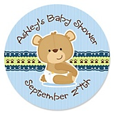 Baby Boy Teddy Bear - Personalized Baby Shower Round Sticker Labels - 24 Count