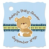 Baby Boy Teddy Bear - Personalized Baby Shower Tags - 20 Count