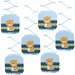 Baby Boy Teddy Bear - Baby Shower Hanging Decorations - 6 Count
