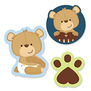 Baby Boy Teddy Bear - Shaped Baby Shower Paper Cut-Outs - 24 ct