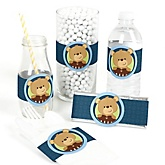 Baby Boy Teddy Bear - Do It Yourself Baby Shower Wrappers - 15 Count