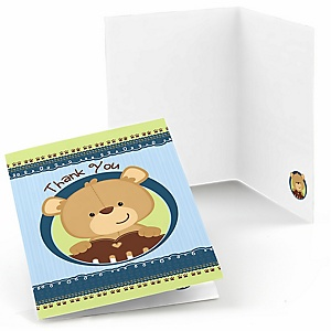 Baby Boy Teddy Bear - Baby Shower Thank You Cards - Set of  8
