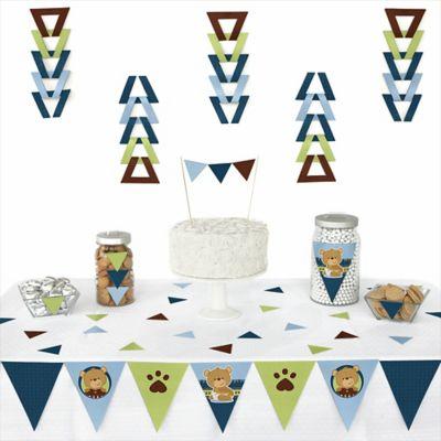 Baby Boy Teddy Bear   72 Piece Triangle Party Decoration Kit