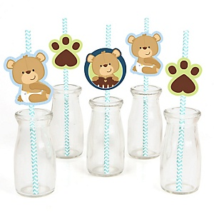 Baby Boy Teddy Bear - Paper Straw Decor - Baby Shower or Birthday Party Striped Decorative Straws - Set of 24