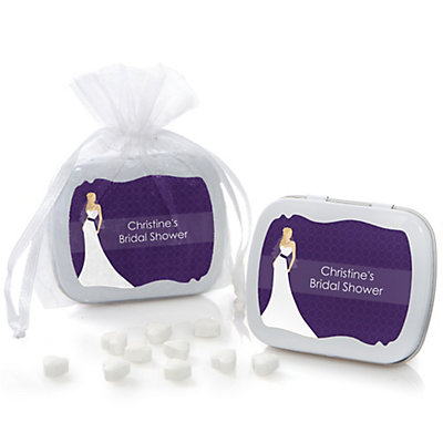 Custom Bride Purple - Personalized Bridal Shower Mint Tin Fa...