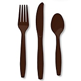Brown - Baby Shower Forks, Knives, Spoons - 24 Count